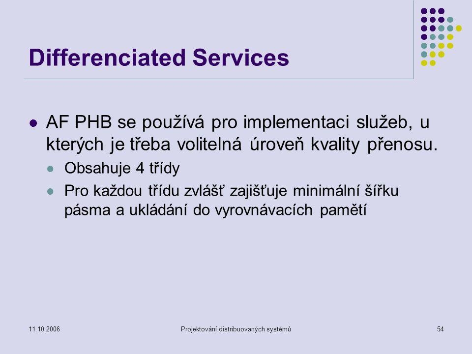 11.10.2006Projektování distribuovaných systémů54 Differenciated Services AF PHB se používá pro implementaci služeb, u kterých je třeba volitelná úroveň kvality přenosu.