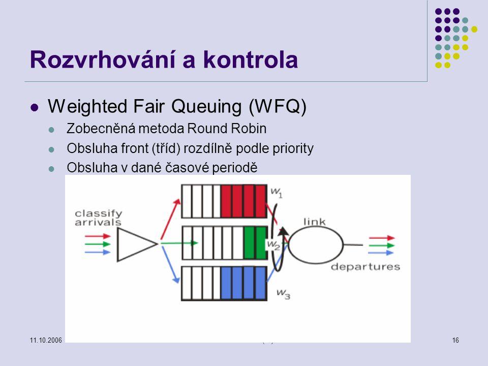 11.10.2006Počítačové sítě (55)16 Rozvrhování a kontrola Weighted Fair Queuing (WFQ) Zobecněná metoda Round Robin Obsluha front (tříd) rozdílně podle p