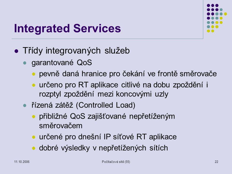 11.10.2006Počítačové sítě (55)22 Integrated Services Třídy integrovaných služeb garantované QoS pevně daná hranice pro čekání ve frontě směrovače urče