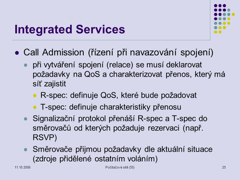 11.10.2006Počítačové sítě (55)25 Integrated Services Call Admission (řízení při navazování spojení) při vytváření spojení (relace) se musí deklarovat