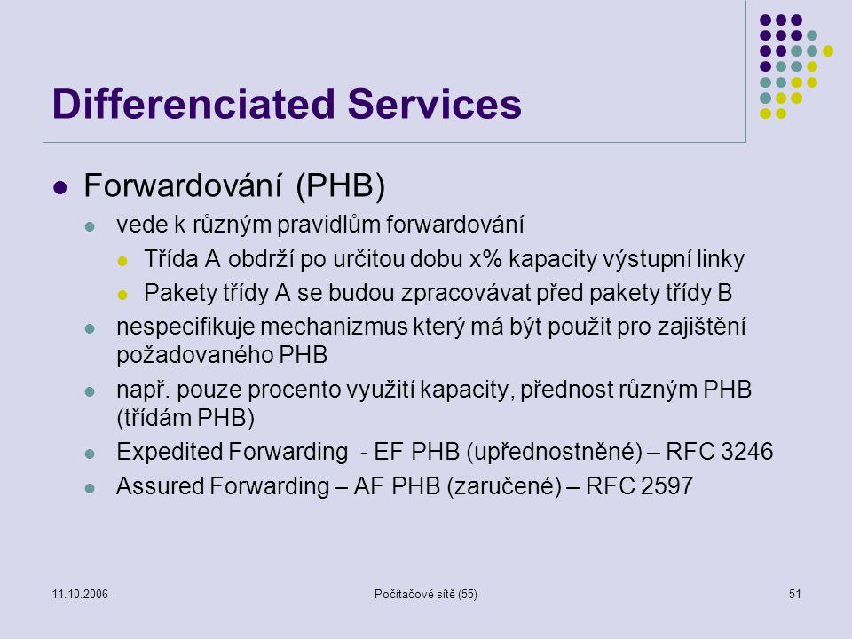 11.10.2006Počítačové sítě (55)51 Differenciated Services Forwardování (PHB) vede k různým pravidlům forwardování Třída A obdrží po určitou dobu x% kap