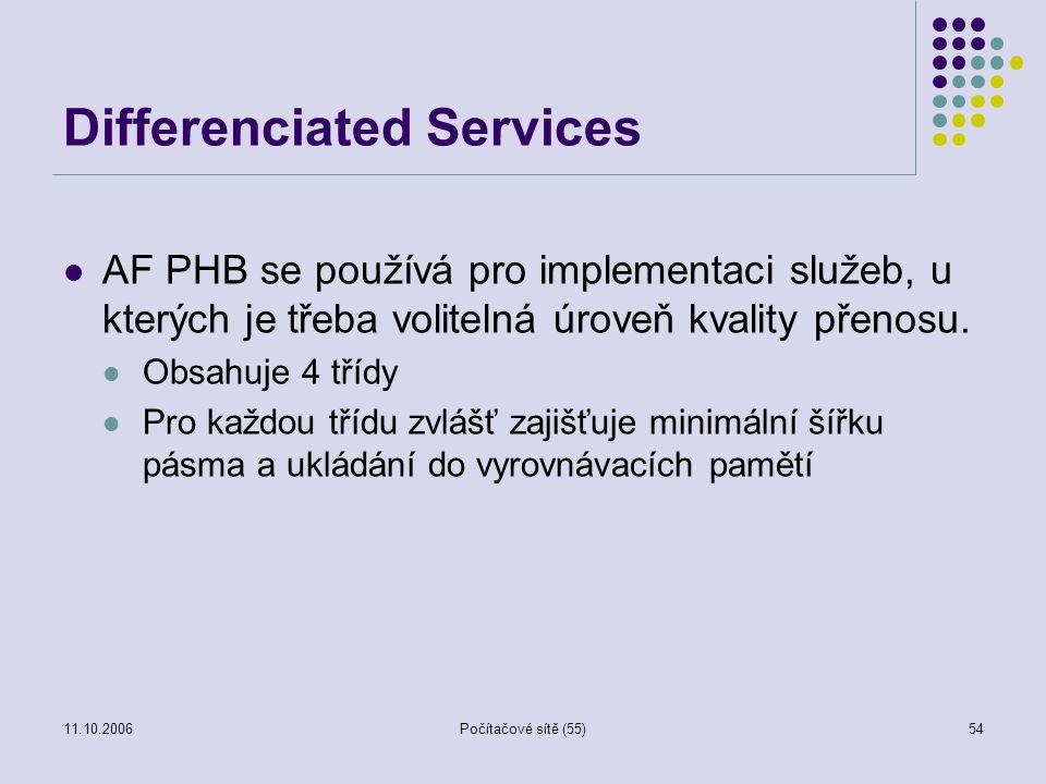 11.10.2006Počítačové sítě (55)54 Differenciated Services AF PHB se používá pro implementaci služeb, u kterých je třeba volitelná úroveň kvality přenos