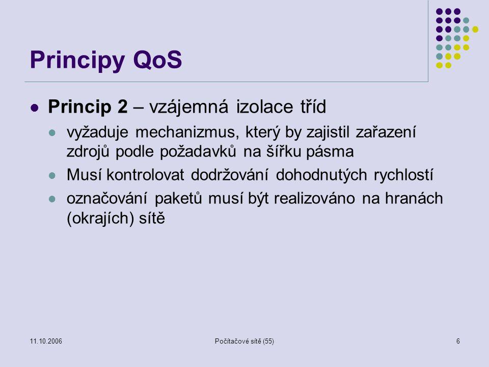 11.10.2006Počítačové sítě (55)6 Principy QoS Princip 2 – vzájemná izolace tříd vyžaduje mechanizmus, který by zajistil zařazení zdrojů podle požadavků