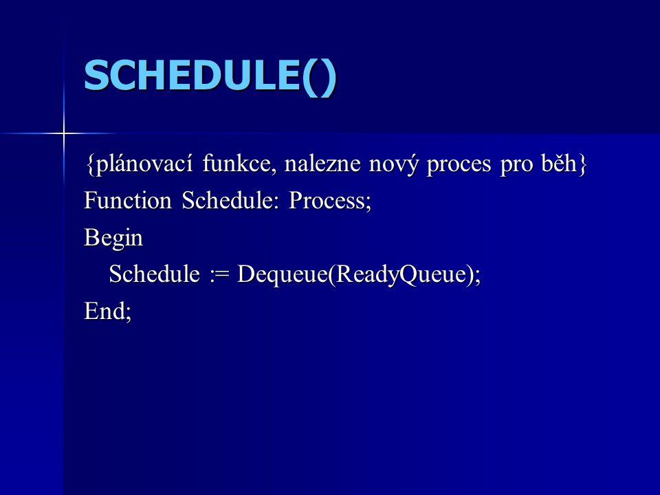 SCHEDULE() {plánovací funkce, nalezne nový proces pro běh} Function Schedule: Process; Begin Schedule := Dequeue(ReadyQueue); End;