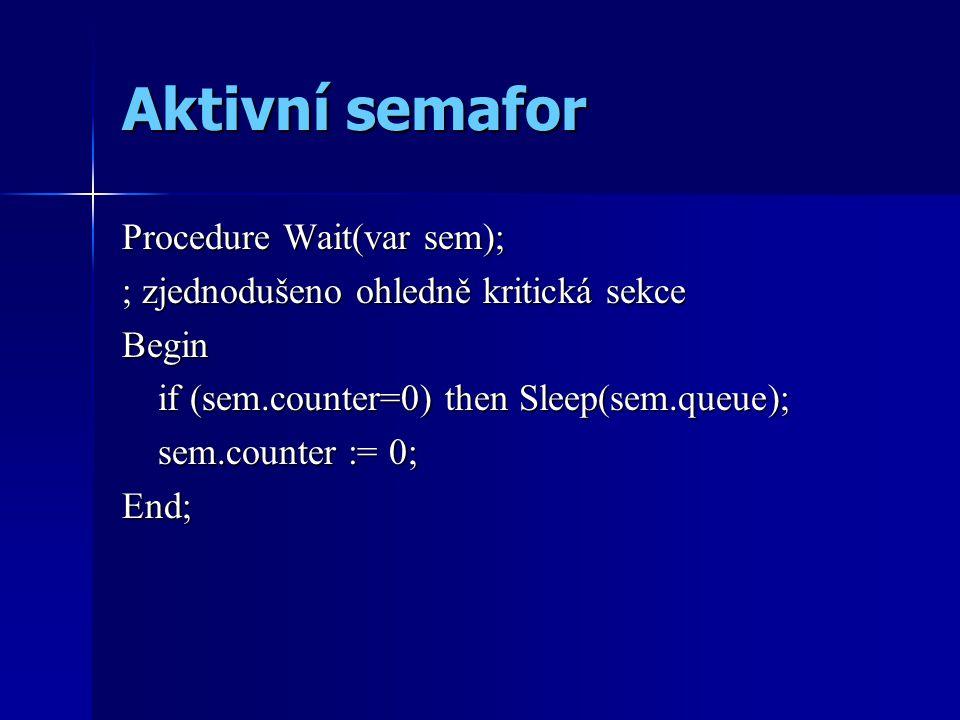 Aktivní semafor Procedure Wait(var sem); ; zjednodušeno ohledně kritická sekce Begin if (sem.counter=0) then Sleep(sem.queue); sem.counter := 0; End;