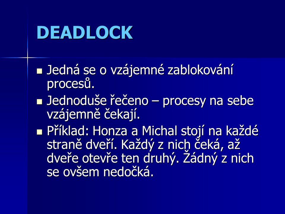 DEADLOCK Jedná se o vzájemné zablokování procesů. Jedná se o vzájemné zablokování procesů.