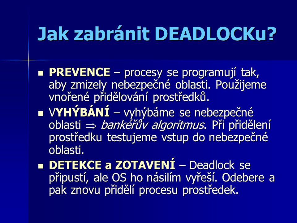 Jak zabránit DEADLOCKu.PREVENCE – procesy se programují tak, aby zmizely nebezpečné oblasti.