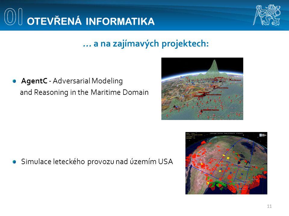 ... a na zajímavých projektech: AgentC - Adversarial Modeling and Reasoning in the Maritime Domain Simulace leteckého provozu nad územím USA 11