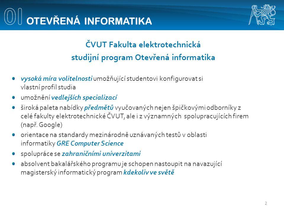 ČVUT Fakulta elektrotechnická studijní program Otevřená informatika vysoká míra volitelnosti umožňující studentovi konfigurovat si vlastní profil stud