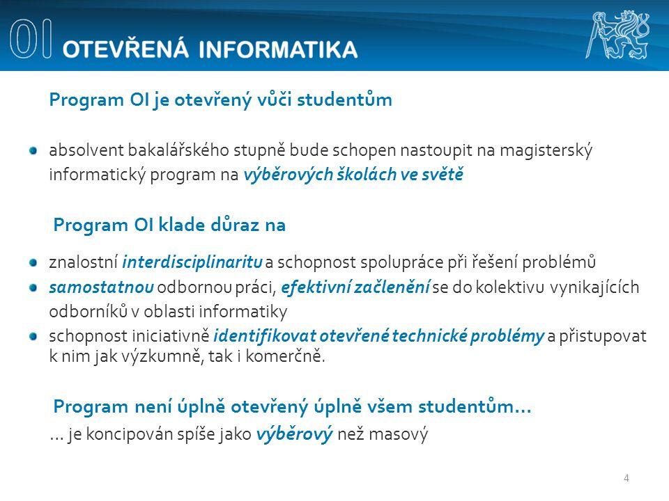 Program OI je otevřený vůči studentům absolvent bakalářského stupně bude schopen nastoupit na magisterský informatický program na výběrových školách v
