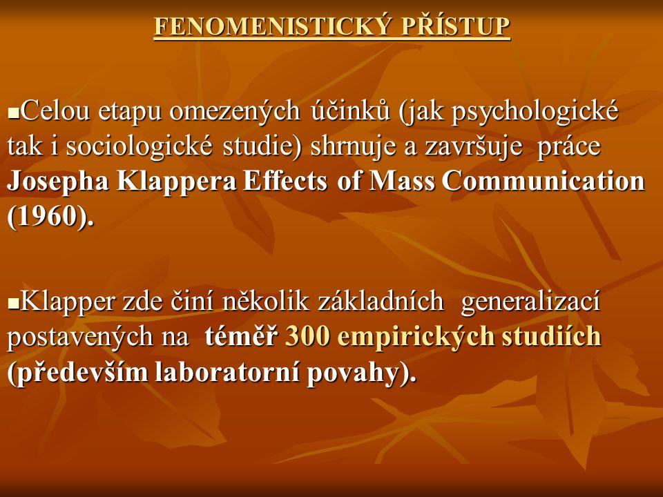 """Klapper koncipoval tzv.fenomenistický přístup, který odmítá dlouho dominantní model""""hypodermického účinku ."""