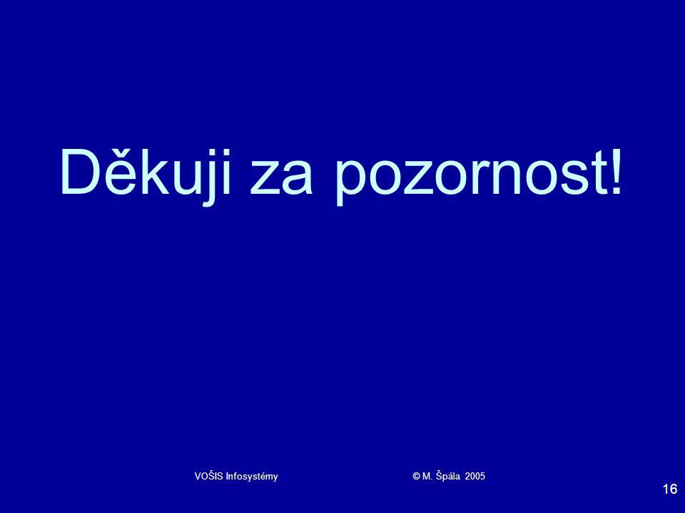 VOŠIS Infosystémy © M. Špála 2005 16 Děkuji za pozornost!