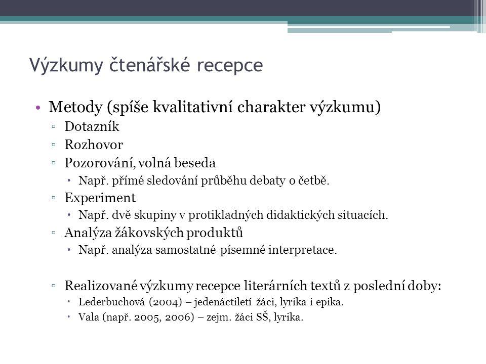 Výzkumy čtenářské recepce Metody (spíše kvalitativní charakter výzkumu) ▫Dotazník ▫Rozhovor ▫Pozorování, volná beseda  Např.