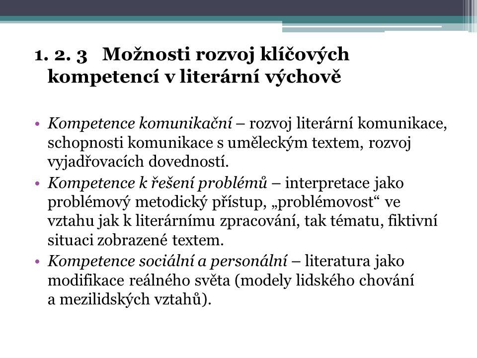 1. 2. 3 Možnosti rozvoj klíčových kompetencí v literární výchově Kompetence komunikační – rozvoj literární komunikace, schopnosti komunikace s uměleck