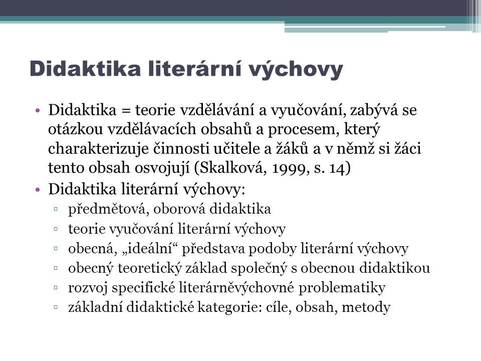 Didaktika literární výchovy Didaktika = teorie vzdělávání a vyučování, zabývá se otázkou vzdělávacích obsahů a procesem, který charakterizuje činnosti učitele a žáků a v němž si žáci tento obsah osvojují (Skalková, 1999, s.