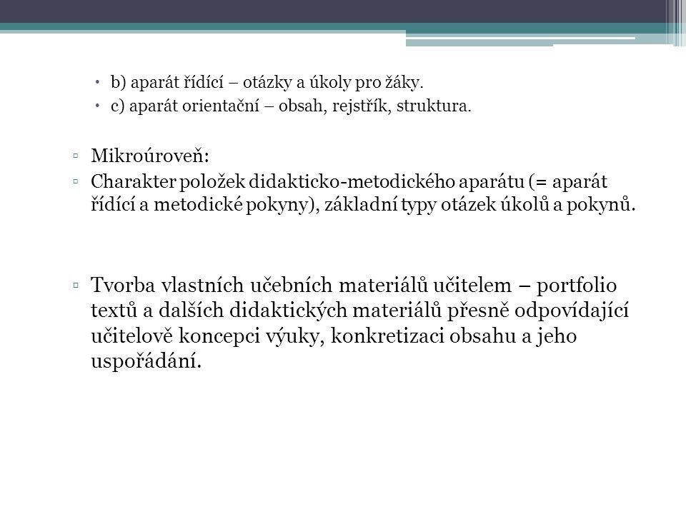  b) aparát řídící – otázky a úkoly pro žáky. c) aparát orientační – obsah, rejstřík, struktura.