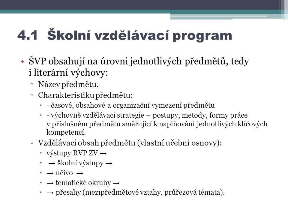 4.1 Školní vzdělávací program ŠVP obsahují na úrovni jednotlivých předmětů, tedy i literární výchovy: ▫Název předmětu.