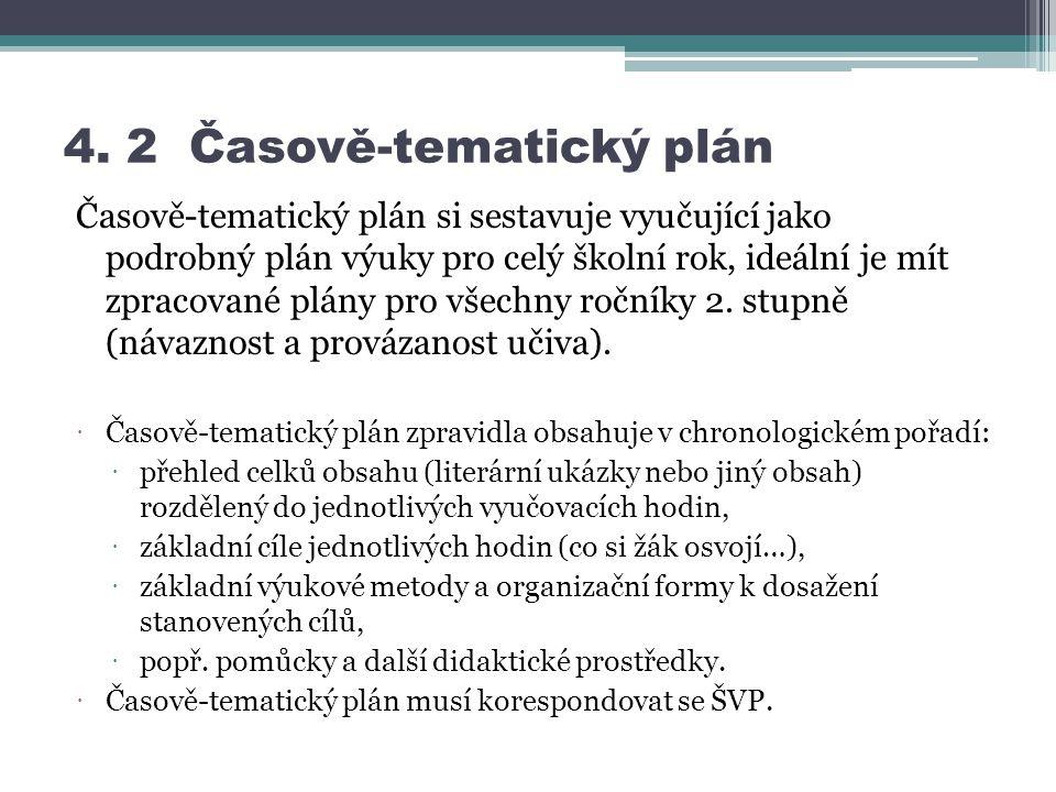 4. 2 Časově-tematický plán Časově-tematický plán si sestavuje vyučující jako podrobný plán výuky pro celý školní rok, ideální je mít zpracované plány