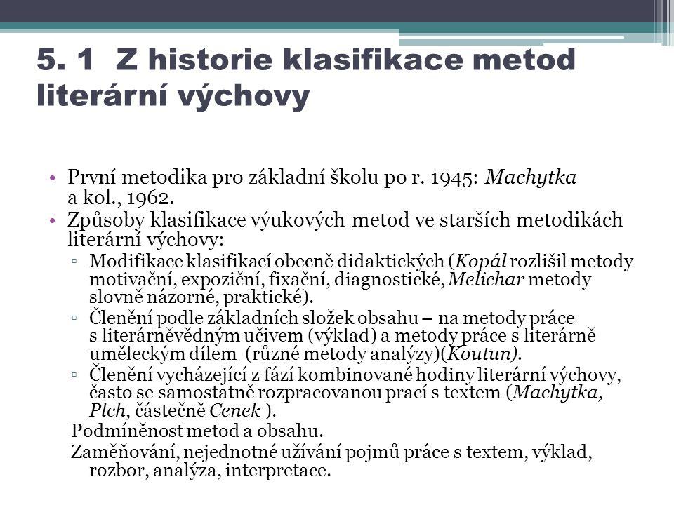5.1 Z historie klasifikace metod literární výchovy První metodika pro základní školu po r.
