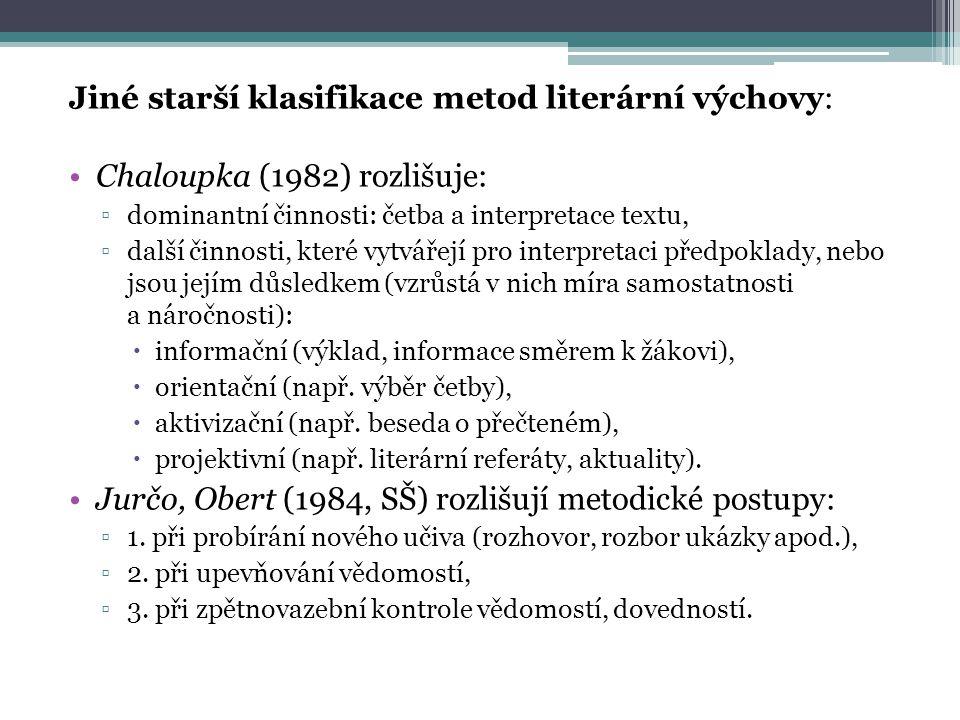 Jiné starší klasifikace metod literární výchovy: Chaloupka (1982) rozlišuje: ▫dominantní činnosti: četba a interpretace textu, ▫další činnosti, které vytvářejí pro interpretaci předpoklady, nebo jsou jejím důsledkem (vzrůstá v nich míra samostatnosti a náročnosti):  informační (výklad, informace směrem k žákovi),  orientační (např.