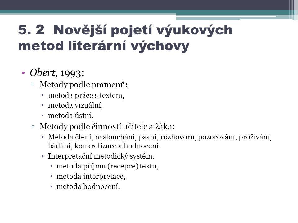 5. 2 Novější pojetí výukových metod literární výchovy Obert, 1993: ▫Metody podle pramenů:  metoda práce s textem,  metoda vizuální,  metoda ústní.