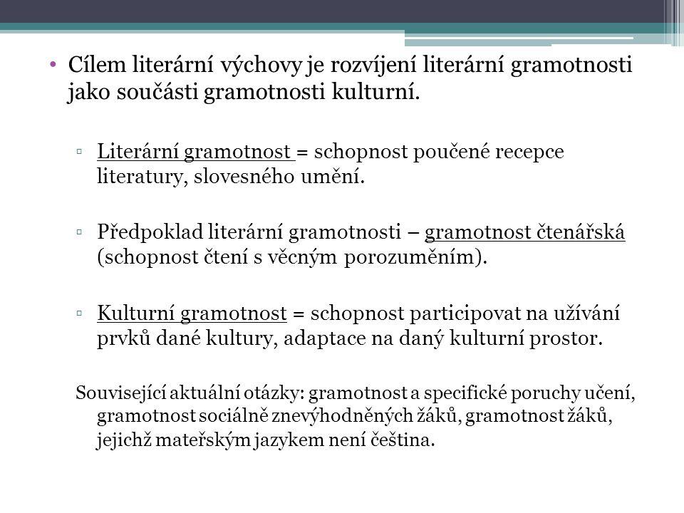 Cílem literární výchovy je rozvíjení literární gramotnosti jako součásti gramotnosti kulturní.