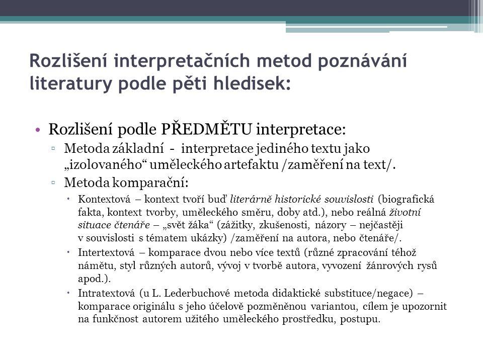 """Rozlišení interpretačních metod poznávání literatury podle pěti hledisek: Rozlišení podle PŘEDMĚTU interpretace: ▫Metoda základní - interpretace jediného textu jako """"izolovaného uměleckého artefaktu /zaměření na text/."""