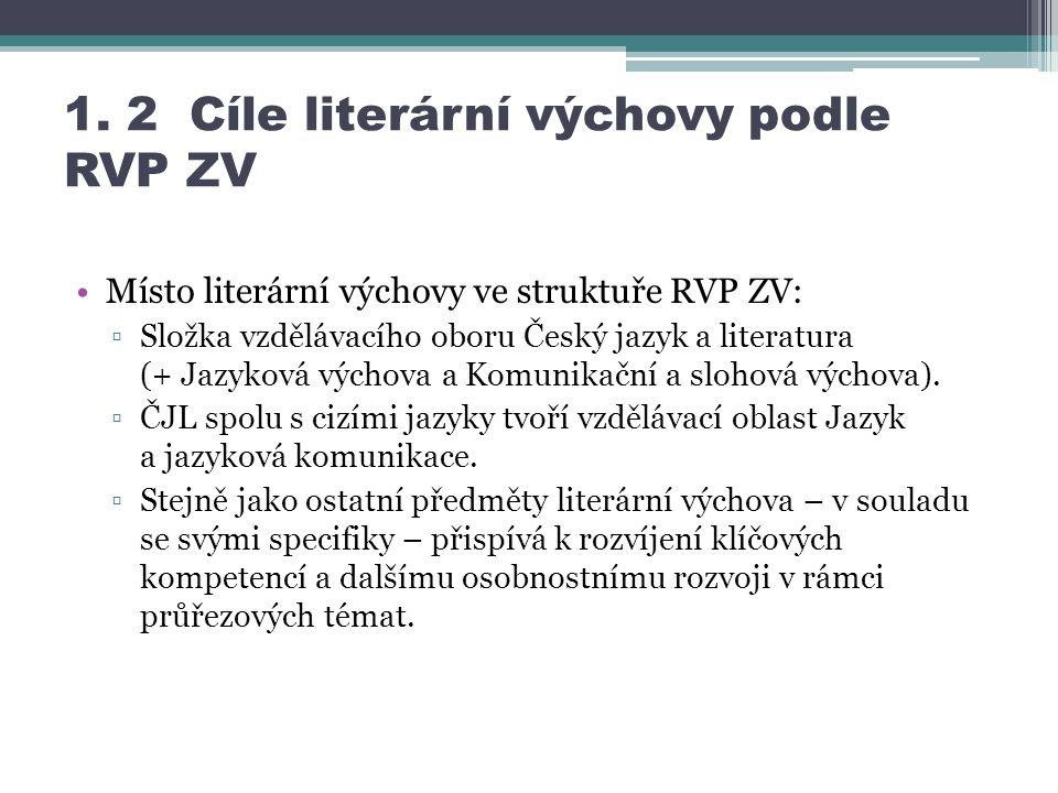 1. 2 Cíle literární výchovy podle RVP ZV Místo literární výchovy ve struktuře RVP ZV: ▫Složka vzdělávacího oboru Český jazyk a literatura (+ Jazyková