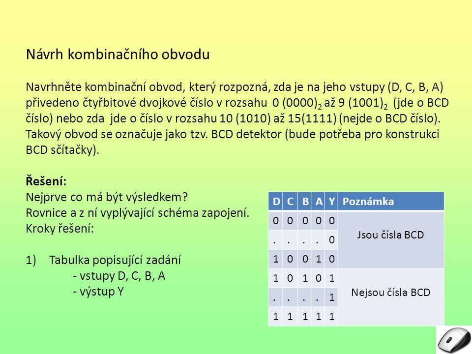 Návrh kombinačního obvodu Navrhněte kombinační obvod, který rozpozná, zda je na jeho vstupy (D, C, B, A) přivedeno čtyřbitové dvojkové číslo v rozsahu