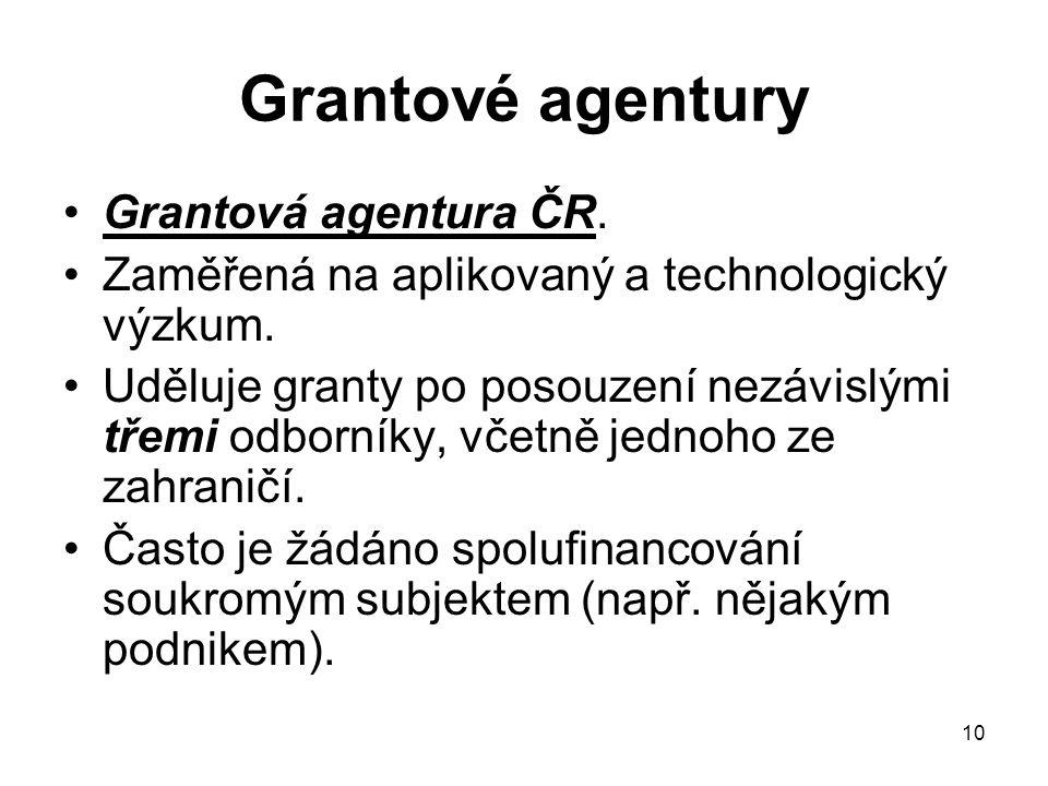 10 Grantové agentury Grantová agentura ČR. Zaměřená na aplikovaný a technologický výzkum. Uděluje granty po posouzení nezávislými třemi odborníky, vče