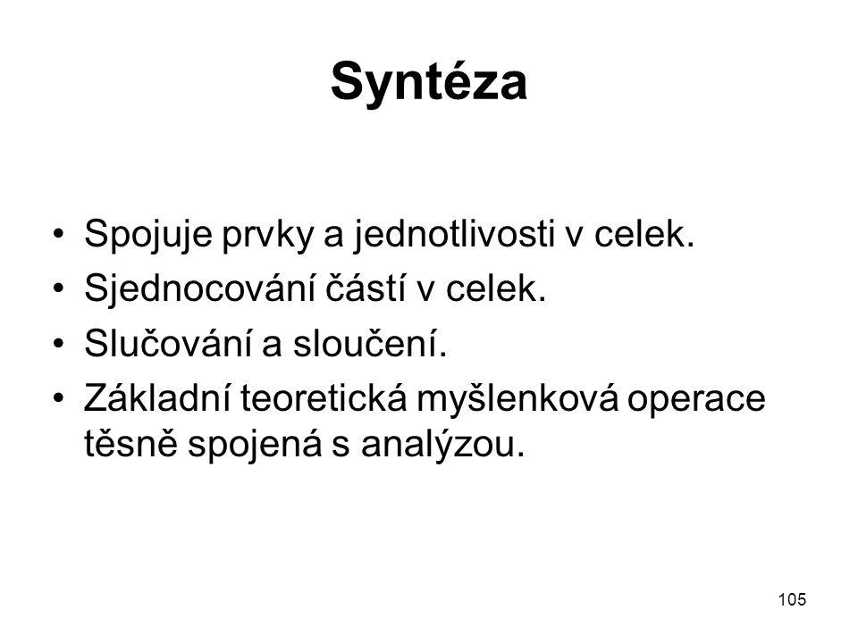 105 Syntéza Spojuje prvky a jednotlivosti v celek. Sjednocování částí v celek. Slučování a sloučení. Základní teoretická myšlenková operace těsně spoj