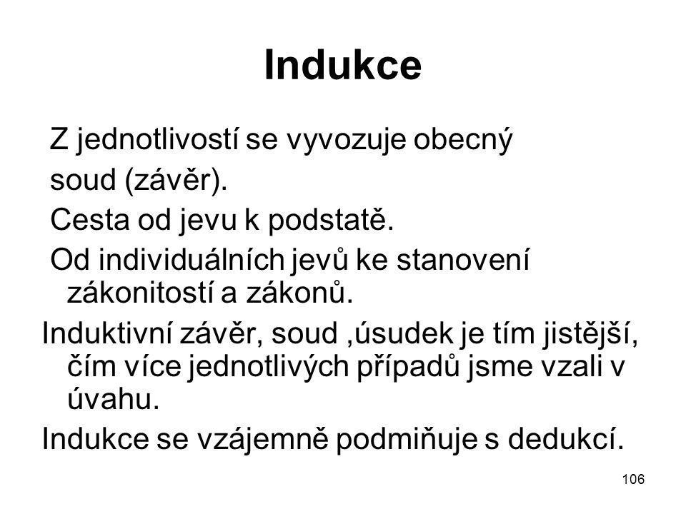 106 Indukce Z jednotlivostí se vyvozuje obecný soud (závěr). Cesta od jevu k podstatě. Od individuálních jevů ke stanovení zákonitostí a zákonů. Induk