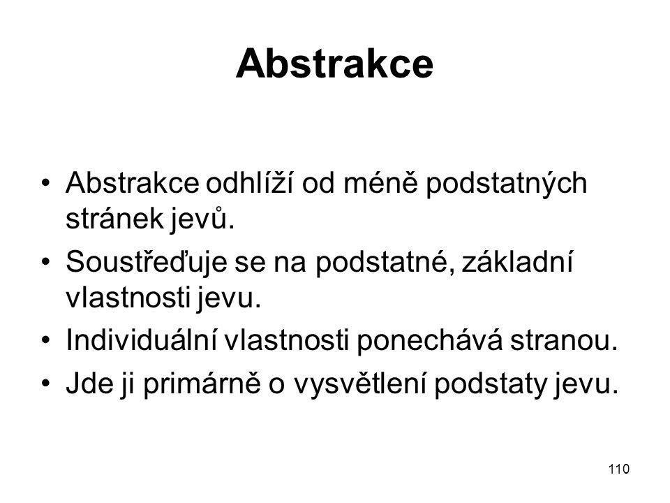 110 Abstrakce Abstrakce odhlíží od méně podstatných stránek jevů. Soustřeďuje se na podstatné, základní vlastnosti jevu. Individuální vlastnosti ponec