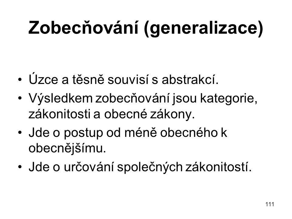 111 Zobecňování (generalizace) Úzce a těsně souvisí s abstrakcí. Výsledkem zobecňování jsou kategorie, zákonitosti a obecné zákony. Jde o postup od mé