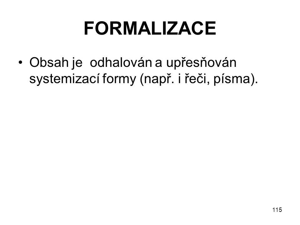 115 FORMALIZACE Obsah je odhalován a upřesňován systemizací formy (např. i řeči, písma).