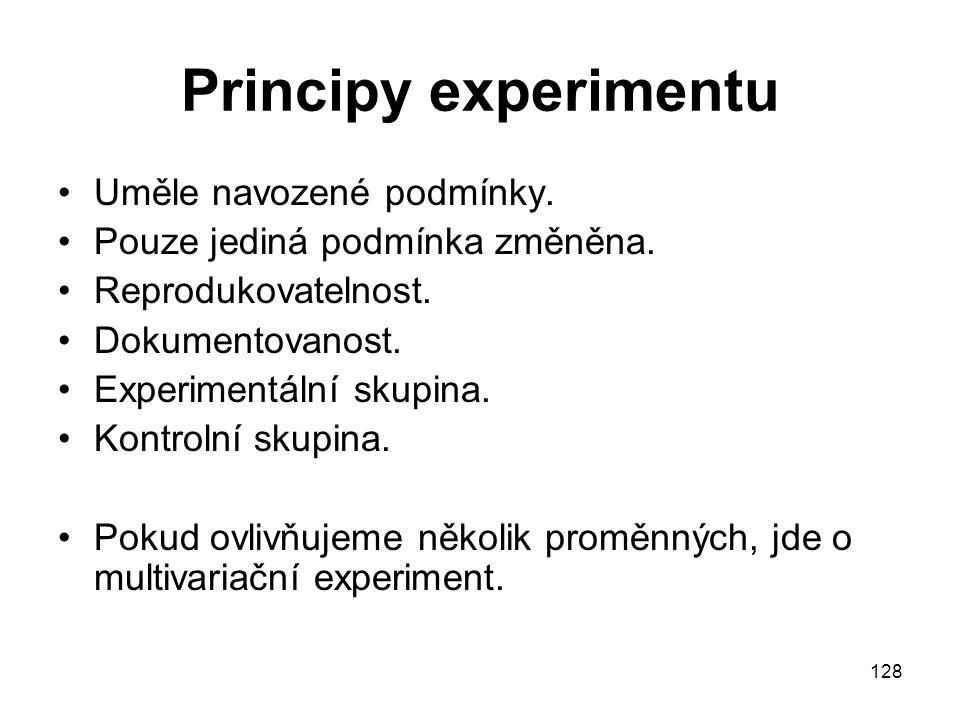 128 Principy experimentu Uměle navozené podmínky. Pouze jediná podmínka změněna. Reprodukovatelnost. Dokumentovanost. Experimentální skupina. Kontroln