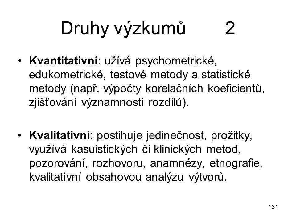 131 Druhy výzkumů 2 Kvantitativní: užívá psychometrické, edukometrické, testové metody a statistické metody (např. výpočty korelačních koeficientů, zj