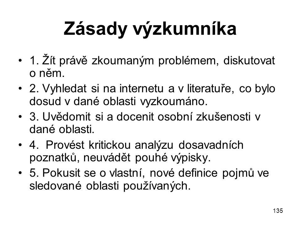 135 Zásady výzkumníka 1. Žít právě zkoumaným problémem, diskutovat o něm. 2. Vyhledat si na internetu a v literatuře, co bylo dosud v dané oblasti vyz