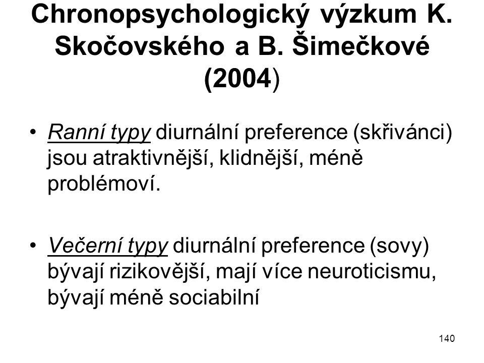 140 Chronopsychologický výzkum K. Skočovského a B. Šimečkové (2004) Ranní typy diurnální preference (skřivánci) jsou atraktivnější, klidnější, méně pr