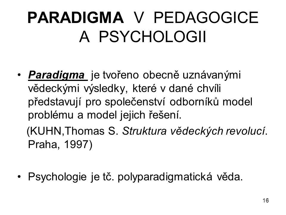 16 PARADIGMA V PEDAGOGICE A PSYCHOLOGII Paradigma je tvořeno obecně uznávanými vědeckými výsledky, které v dané chvíli představují pro společenství od