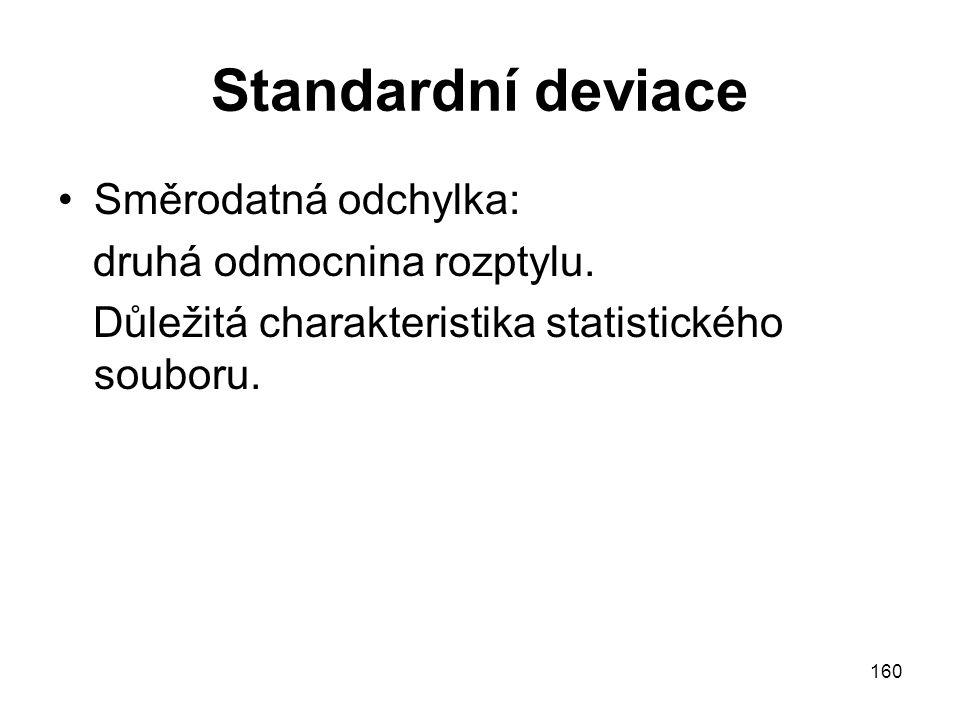 160 Standardní deviace Směrodatná odchylka: druhá odmocnina rozptylu. Důležitá charakteristika statistického souboru.