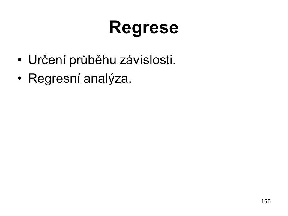 165 Regrese Určení průběhu závislosti. Regresní analýza.
