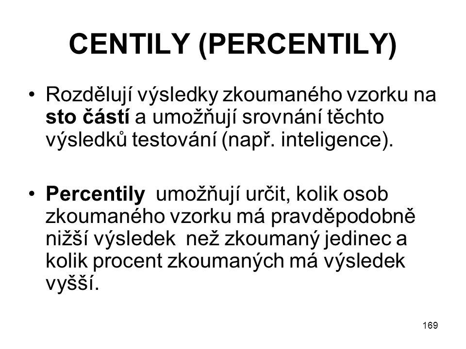 169 CENTILY (PERCENTILY) Rozdělují výsledky zkoumaného vzorku na sto částí a umožňují srovnání těchto výsledků testování (např. inteligence). Percenti
