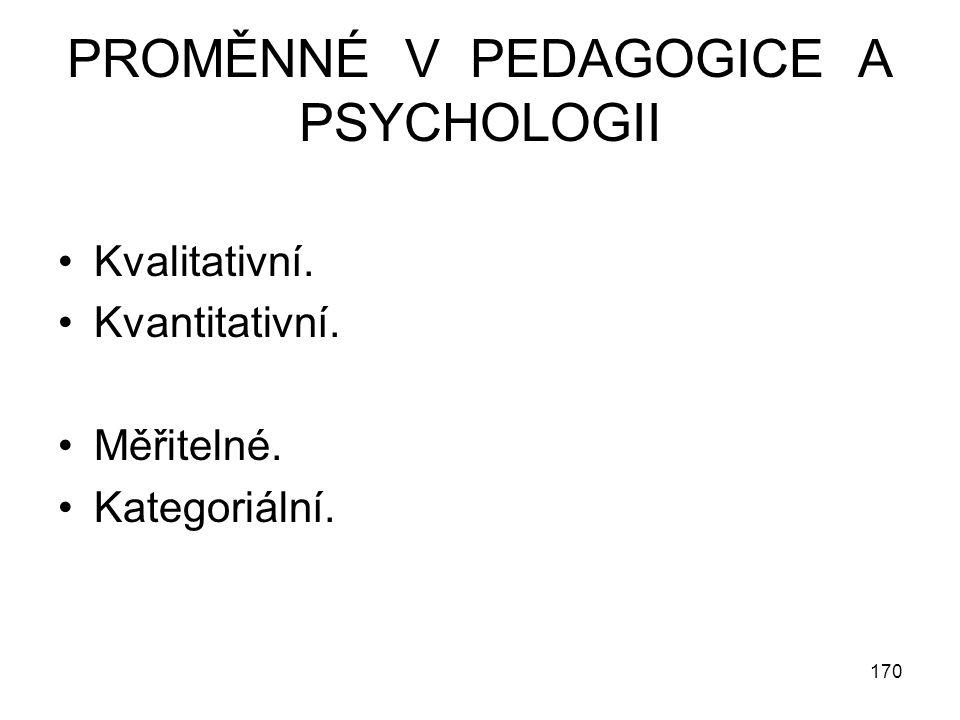 170 PROMĚNNÉ V PEDAGOGICE A PSYCHOLOGII Kvalitativní. Kvantitativní. Měřitelné. Kategoriální.