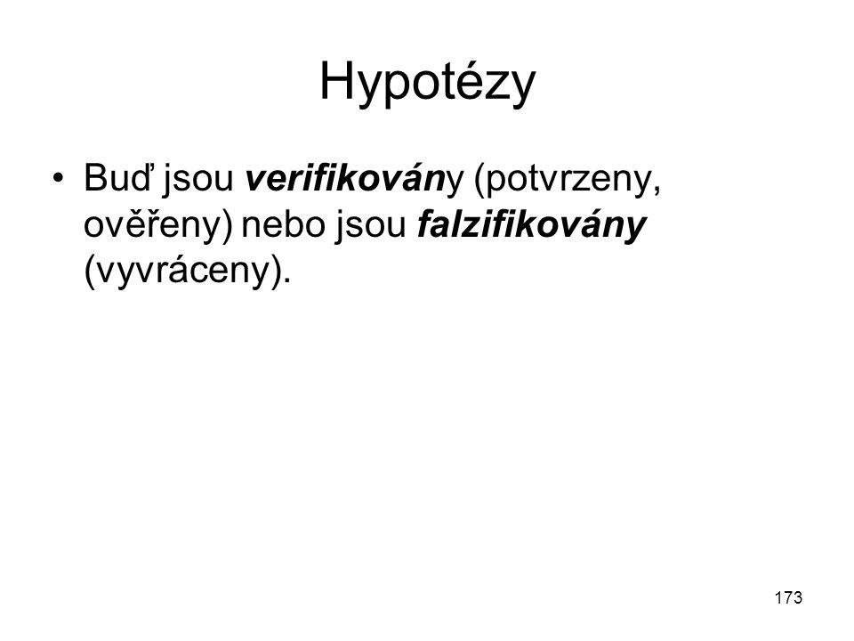 173 Hypotézy Buď jsou verifikovány (potvrzeny, ověřeny) nebo jsou falzifikovány (vyvráceny).