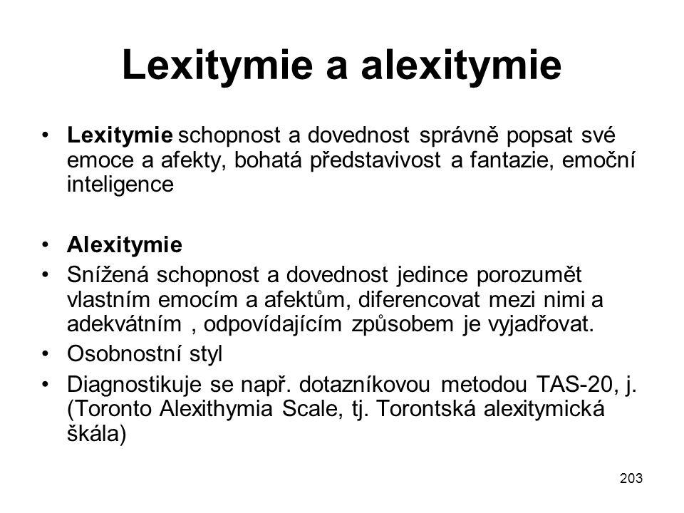 203 Lexitymie a alexitymie Lexitymie schopnost a dovednost správně popsat své emoce a afekty, bohatá představivost a fantazie, emoční inteligence Alex