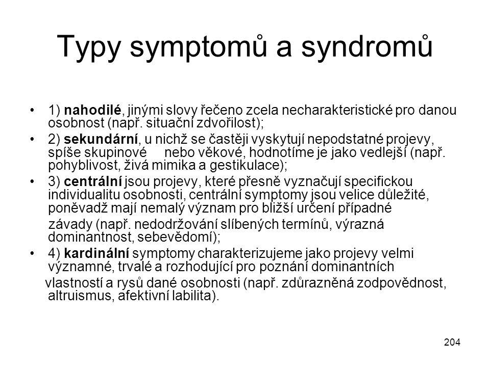 204 Typy symptomů a syndromů 1) nahodilé, jinými slovy řečeno zcela necharakteristické pro danou osobnost (např. situační zdvořilost); 2) sekundární,
