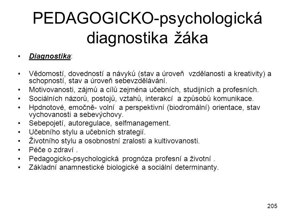 205 PEDAGOGICKO-psychologická diagnostika žáka Diagnostika: Vědomostí, dovedností a návyků (stav a úroveň vzdělanosti a kreativity) a schopností, stav