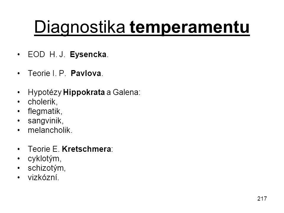 217 Diagnostika temperamentu EOD H. J. Eysencka. Teorie I. P. Pavlova. Hypotézy Hippokrata a Galena: cholerik, flegmatik, sangvinik, melancholik. Teor