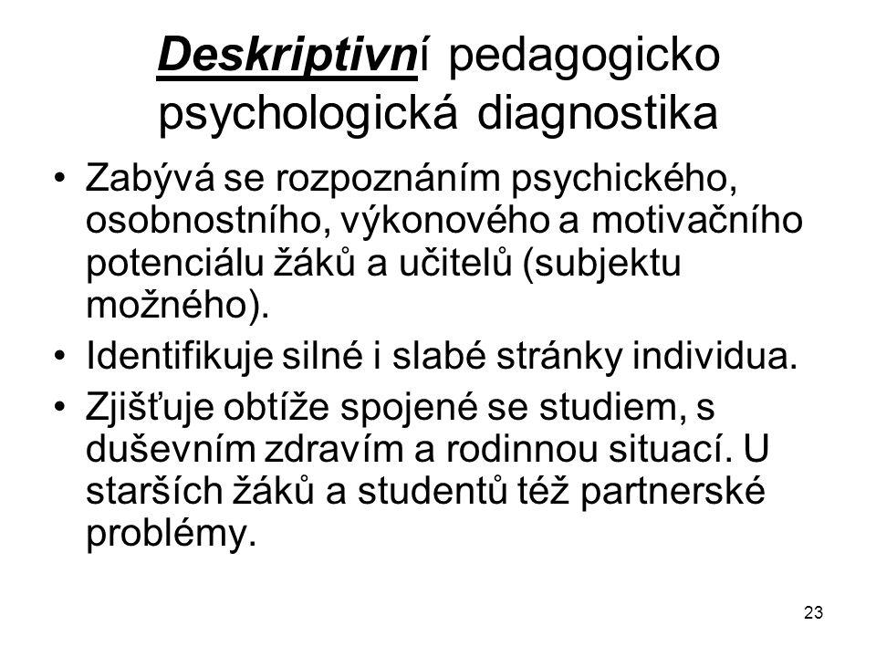 23 Deskriptivní pedagogicko psychologická diagnostika Zabývá se rozpoznáním psychického, osobnostního, výkonového a motivačního potenciálu žáků a učit